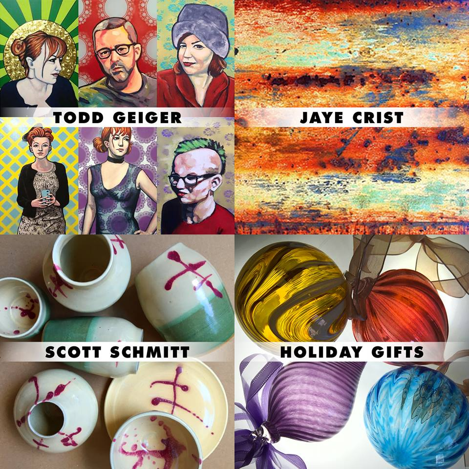 Todd Geiger's amazing portraits continue… Jaye Crist's photographs and pottery remain on display… Pittsburgh potter, Scott Schmitt, now offers his elegant work here… and our own artists continue to create beautiful glass work that's perfect for gifts, decoration and utility.